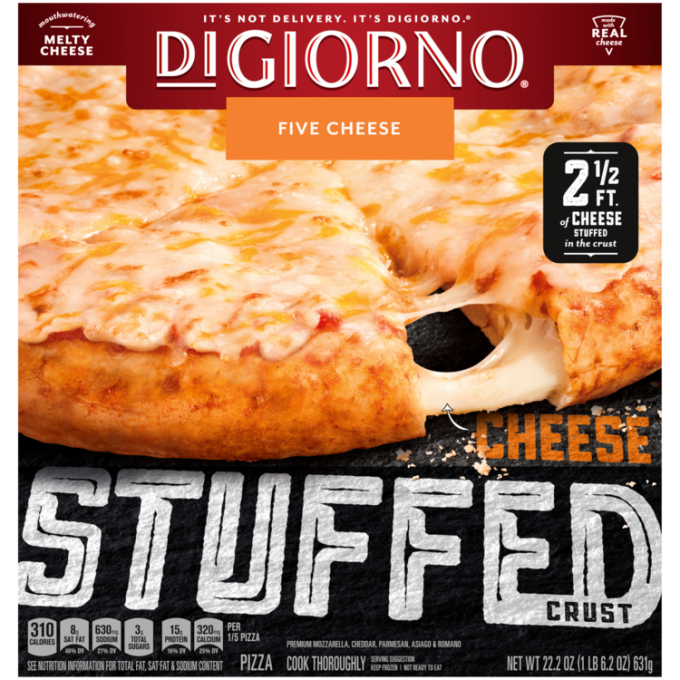 Red and black cardboard packaging of DiGiorno Stuffed Crust Five Cheese Pizza featuring the DiGiorno logo above the product
