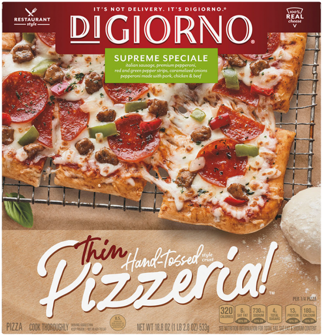 Red and tan cardboard packaging of DiGiorno Thin Hand-Tossed Style Crust Supreme Pizza featuring the DiGiorno logo above the