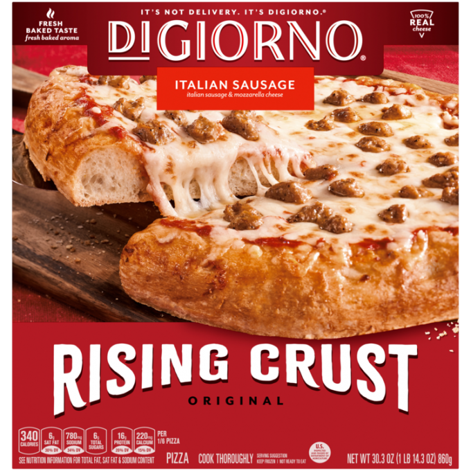 Red cardboard packaging of DiGiorno Rising Crust Italian Sausage pizza featuring the DiGiorno logo above the product name on