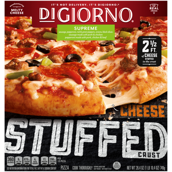 Red and black cardboard packaging of DiGiorno Stuffed Crust Supreme Pizza featuring the DiGiorno logo above the product name