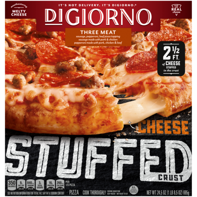 Red and black cardboard packaging of DiGiorno Stuffed Crust Three Meat Pizza featuring the DiGiorno logo above the product n