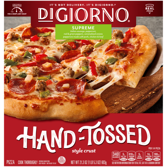 Red cardboard packaging of DiGiorno Hand-Tossed Supreme Pizza featuring the DiGiorno logo above the product name on a green