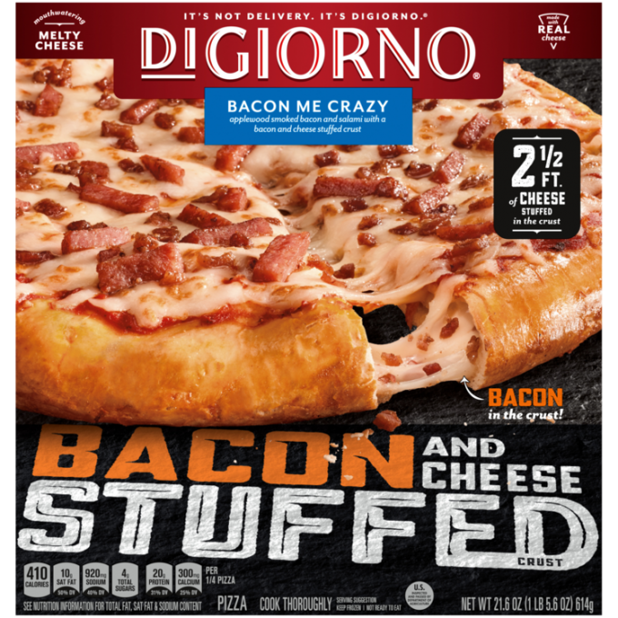 Red and black cardboard packaging of DiGiorno Stuffed Crust Bacon Me Crazy Pizza featuring the DiGiorno logo above the produ