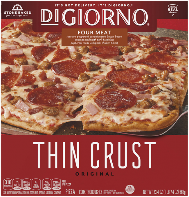 Red cardboard packaging of DiGiorno Original Thin Crust Four Meat Pizza featuring the DiGiorno logo above the product name o