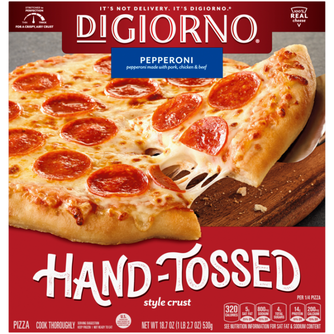 Red cardboard packaging of DiGiorno Hand-Tossed Pepperoni Pizza featuring the DiGiorno logo above the product name on a blue