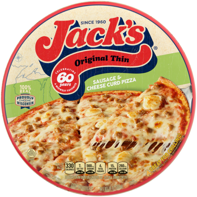 A package of sausage & cheese curd pizza with a green label, a pizza and spatula, and the Jack's logo on a tan background.