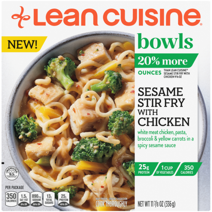 Front view photograph of a box of Sesame Stir-Fry with Chicken Bowl featuring the orange Lean Cuisine logo and the green bowls label beside the product name and chicken, seasoned vegetables, and vermicelli noodles topped with sesame sauce in a white bowl on a white surface.