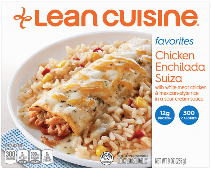Front view photograph of a box of Chicken Enchilada Suiza Frozen Meal featuring the orange Lean Cuisine logo and the favorites label beside the product name and a chicken enchilada Suiza and Mexican-style rice with a sour cream sauce in a white bowl on a white surface.