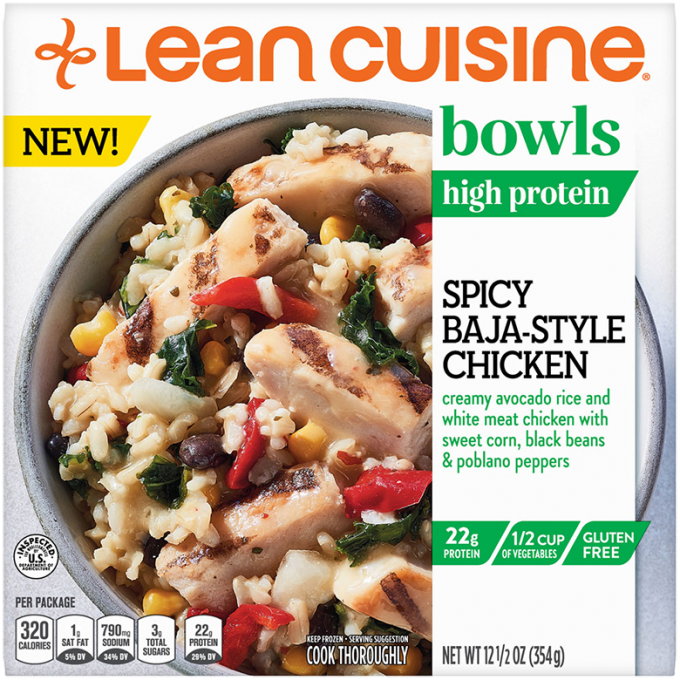 Front view photograph of a box of Spicy Baja-Style Chicken Bowl featuring the orange Lean Cuisine logo and the green bowls label beside the product name and avocado rice, chicken, sweet corn, black beans, and poblano peppers in a white bowl on a white surface.