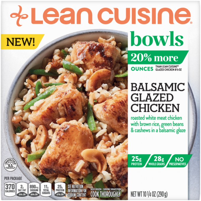 Front view photograph of a box of Balsamic Glazed Chicken Bowls featuring the orange Lean Cuisine logo and the green bowls label beside the product name and grilled chicken with a balsamic glaze on a bed of rice, green beans, and cashews in a white bowl on a white surface.