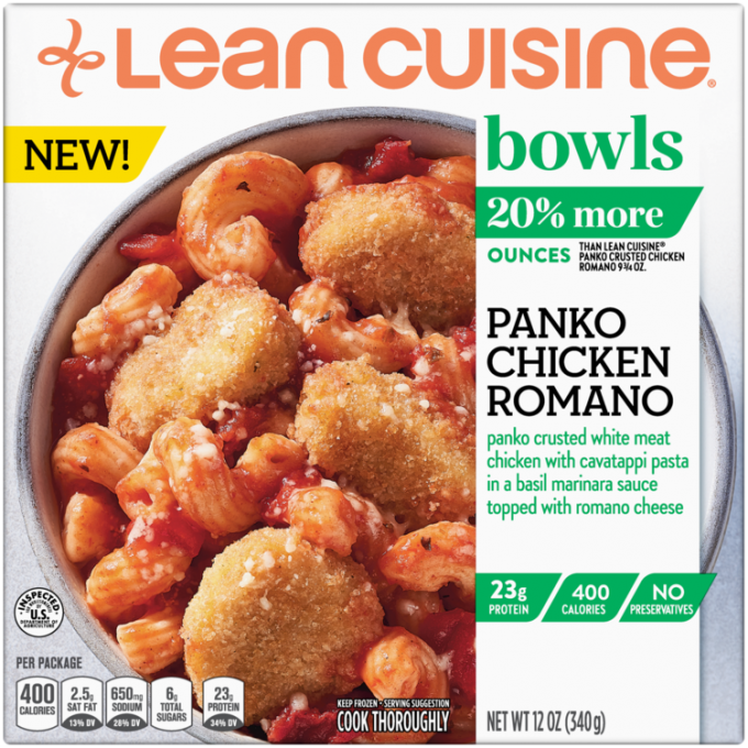 Front view photograph of a box of Panko Chicken Romano Bowl featuring the orange Lean Cuisine logo and the green bowls label beside the product name and panko crusted chicken with cavatappi and a basil marinara sauce in a white bowl on a white surface.