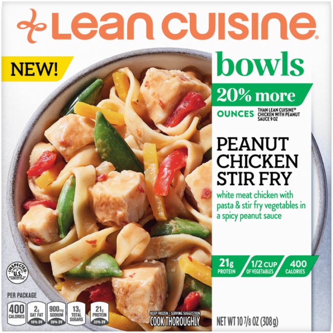 Front view photograph of a box of Peanut Chicken Stir-Fry Bowl featuring the orange Lean Cuisine logo and the green bowls label beside the product name and Asian-style noodles with chicken, snap peas, red and yellow peppers, and a peanut sauce in a white bowl on a white surface.