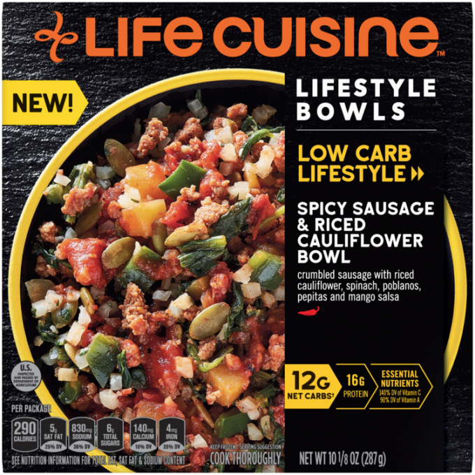Front view photograph of a box of Spicy Sausage & Rice Cauliflower Bowl featuring the orange Life Cuisine logo and the Low Carb Lifestyle label beside the product name and a yellow bowl filled with sausage, cauliflower rice, poblanos, and spinach against a black textured surface.