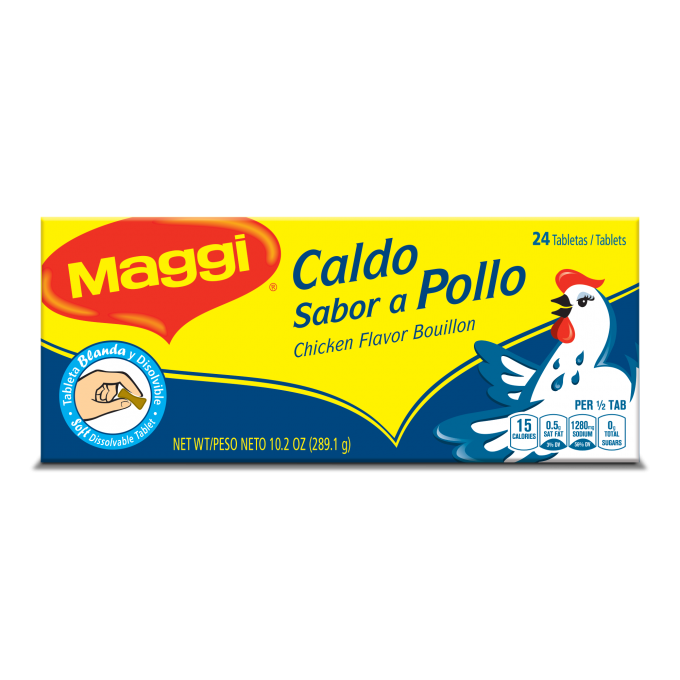 Front view of packaging for MAGGI Chicken Bouillon 24 Soft Tablets with an illustrated chicken on dark blue and yellow label.
