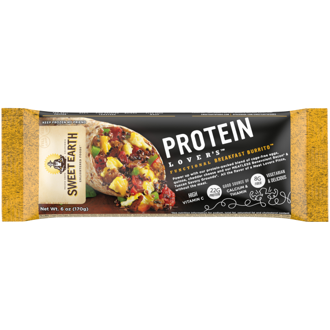 Yellow and black packaging featuring the Sweet Earth logo beside a Protein Lovers Burrito with eggs, quinoa, cheddar, savory