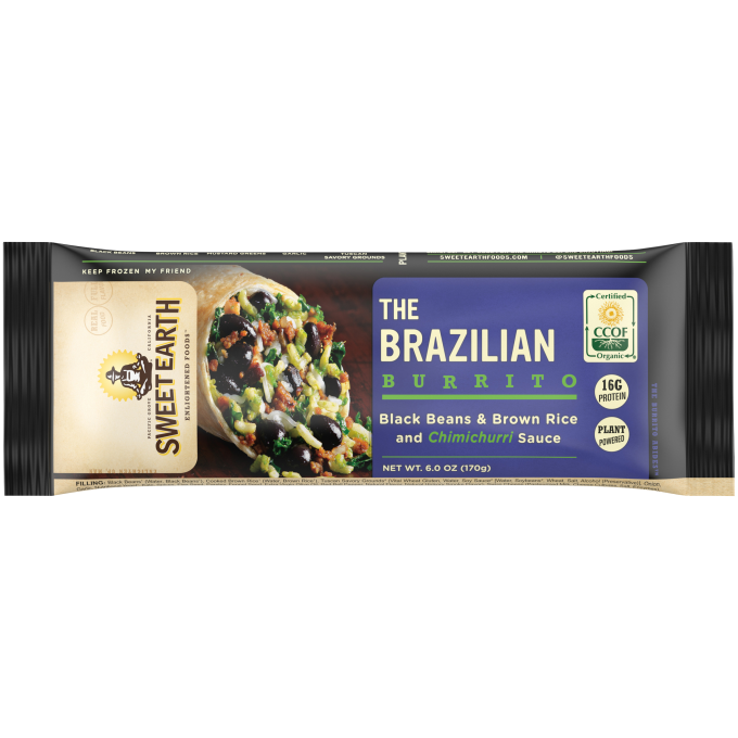Black packaging featuring the Sweet Earth logo beside a Brazilian Burrito with black beans, brown rice, and chimichurri wrap