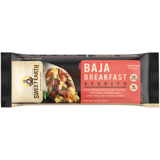 Black packaging featuring the Sweet Earth logo beside a Baja Breakfast Burrito with eggs, pinto beans, chipotle seitan, gree