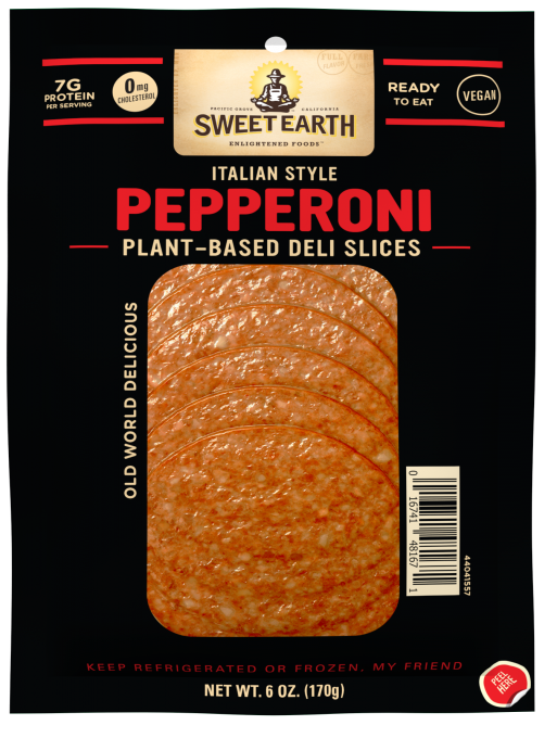 A black package with the Sweet Earth logo beside product feature badges above the product name and description and 6 slices