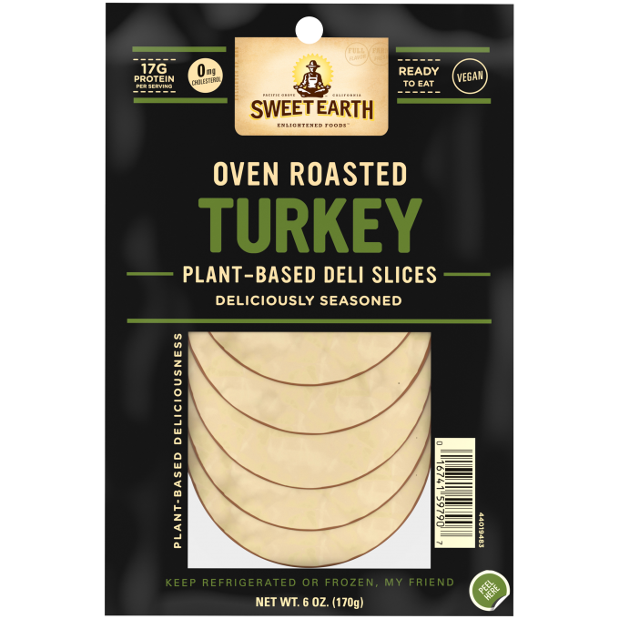 A package of Oven Roasted Turkey Deli Slices with product feature badges, the product name, description and slices of turkey.