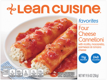 Front view photograph of a box of Four Cheese Cannelloni Frozen Meal featuring the orange Lean Cuisine logo and the favorites label beside the product name and two cheese cannelloni covered in marinara in a white bowl on a blue polka dot napkin and white surface.