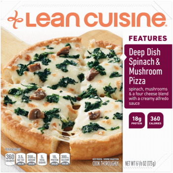 Front view photograph of a box of Deep Dish Spinach and Mushroom Pizza Frozen Meal featuring the orange Lean Cuisine logo and the features label beside the product name and a crispy crust deep dish pizza with parmesan, Romano, asiago and mozzarella cheeses topped with tender spinach and mushrooms on a wood pizza paddle and a white surface.
