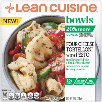 Front view photograph of a box of Four Cheese Tortelloni with Pesto Bowls featuring the orange Lean Cuisine logo and the green bowls label beside the product name and tortelloni, bell peppers, zucchini, and tomatoes in a white bowl on a white surface.