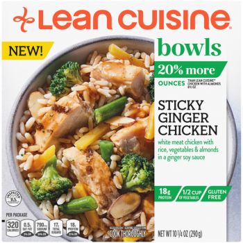 Front view photograph of a box of Sticky Ginger Chicken Bowl featuring the orange Lean Cuisine logo and the green bowls label beside the product name and chicken, rice, vegetables and almonds with a ginger soy sauce in a white bowl on a white surface.