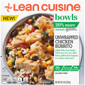 Front view photograph of a box of Unwrapped Chicken Burrito Bowl featuring the orange Lean Cuisine logo and the green bowls label beside the product name and chicken, brown rice, corn, black beans, poblano and red peppers with a creamy verde sauce in a white bowl on a white surface.