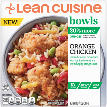Front view photograph of a box of Orange Chicken Bowl featuring the orange Lean Cuisine logo and the green bowls label beside the product name and chicken on a bed of rice with edamame and diced peppers in a white bowl on a blue polka dot napkin and white surface.