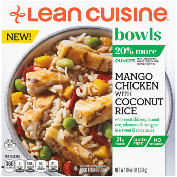 Front view photograph of a box of Mango Chicken with Coconut Rice Bowl featuring the orange Lean Cuisine logo and the green bowls label beside the product name and chicken, edamame, white rice & toasted coconut with a sweet & spicy mango sauce in a white bowl on a white surface.