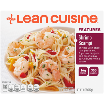 Front view photograph of a box of Shrimp Scampi Frozen Meal featuring the orange Lean Cuisine logo and the features label beside the product name and shrimp and pasta in a delicious red pepper & seafood sauce in a white bowl on a white surface.