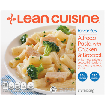 Front view photograph of a box of Alfredo Pasta with Chicken & Broccoli Frozen Meal featuring the orange Lean Cuisine logo and the favorites label beside the product name and pasta covered in alfredo with chicken and broccoli in a white bowl on a blue polka dot napkin and white surface.