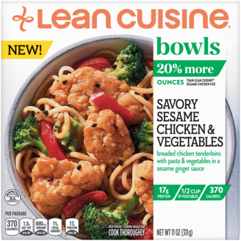 Front view photograph of a box of Savory Sesame Chicken and Vegetables Bowl featuring the orange Lean Cuisine logo and the green bowls label beside the product name and Asian noodles with sesame chicken, broccoli, and red pepper in a white bowl on a white surface.