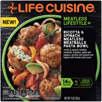 Front view photograph of a box of Ricotta & Spinach Meatless Meatballs Pasta Bowl featuring the orange Life Cuisine logo and the Meatless Lifestyle label beside the product name and a green bowl filled with meatless meatballs, bell peppers, zucchini, and linguine against a black textured surface.