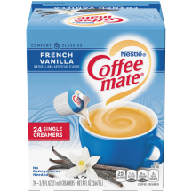 A blue box of single serve Coffee mate Vanilla Creamer with a blue label above coffee mug, vanilla bean and the product logo.