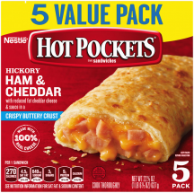 "Box of Hickory Ham & Cheddar Hot Pockets® with the product name, product image and a ""5 Pack"" label in the corner."