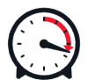 A vector illustration of a timer with a red arrow showing time elapsed.
