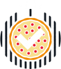 A vector illustration of white arrows pointing at a pepperoni pizza on a grill.