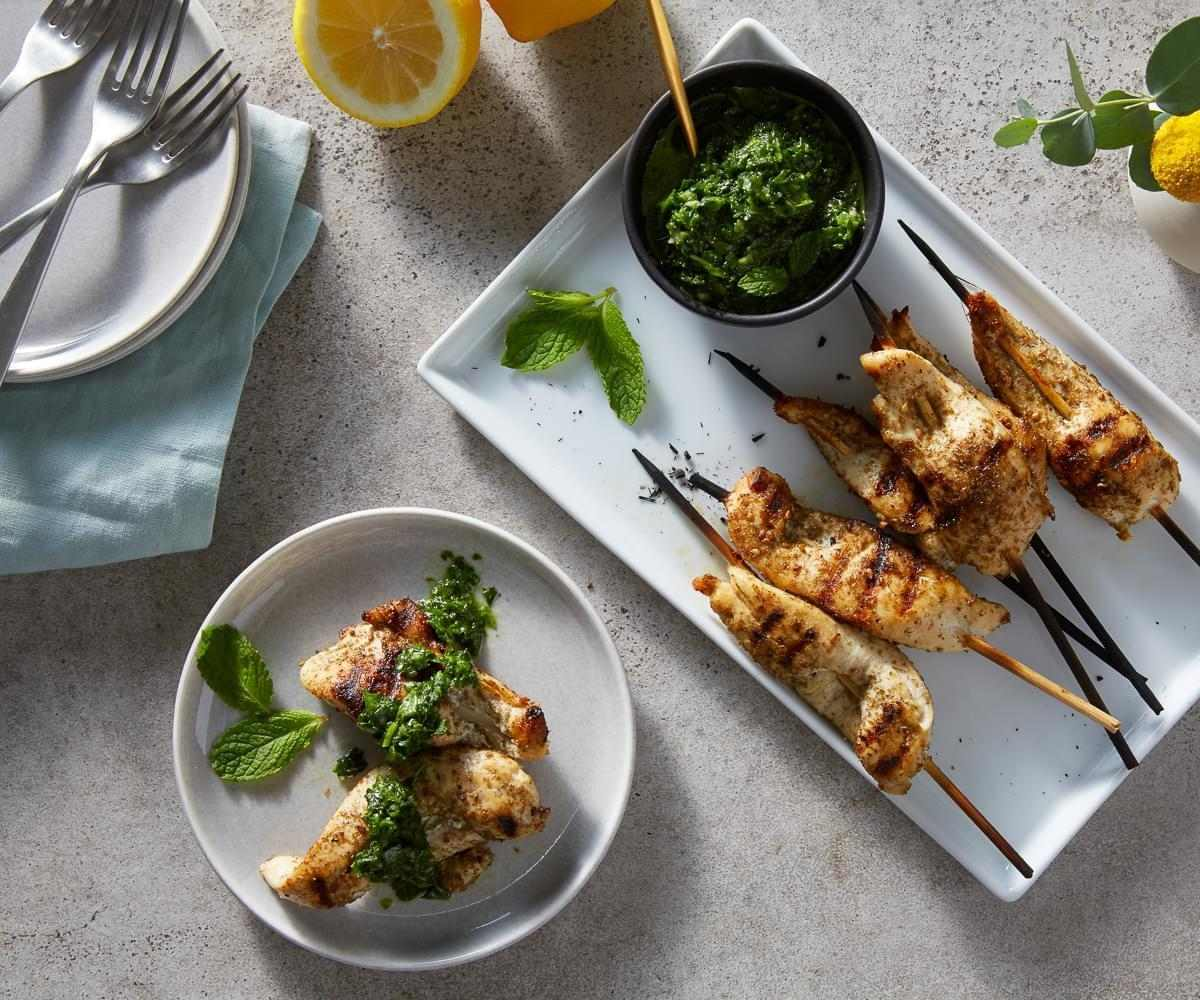 Za'atar Chicken Skewers with Mint Harissa